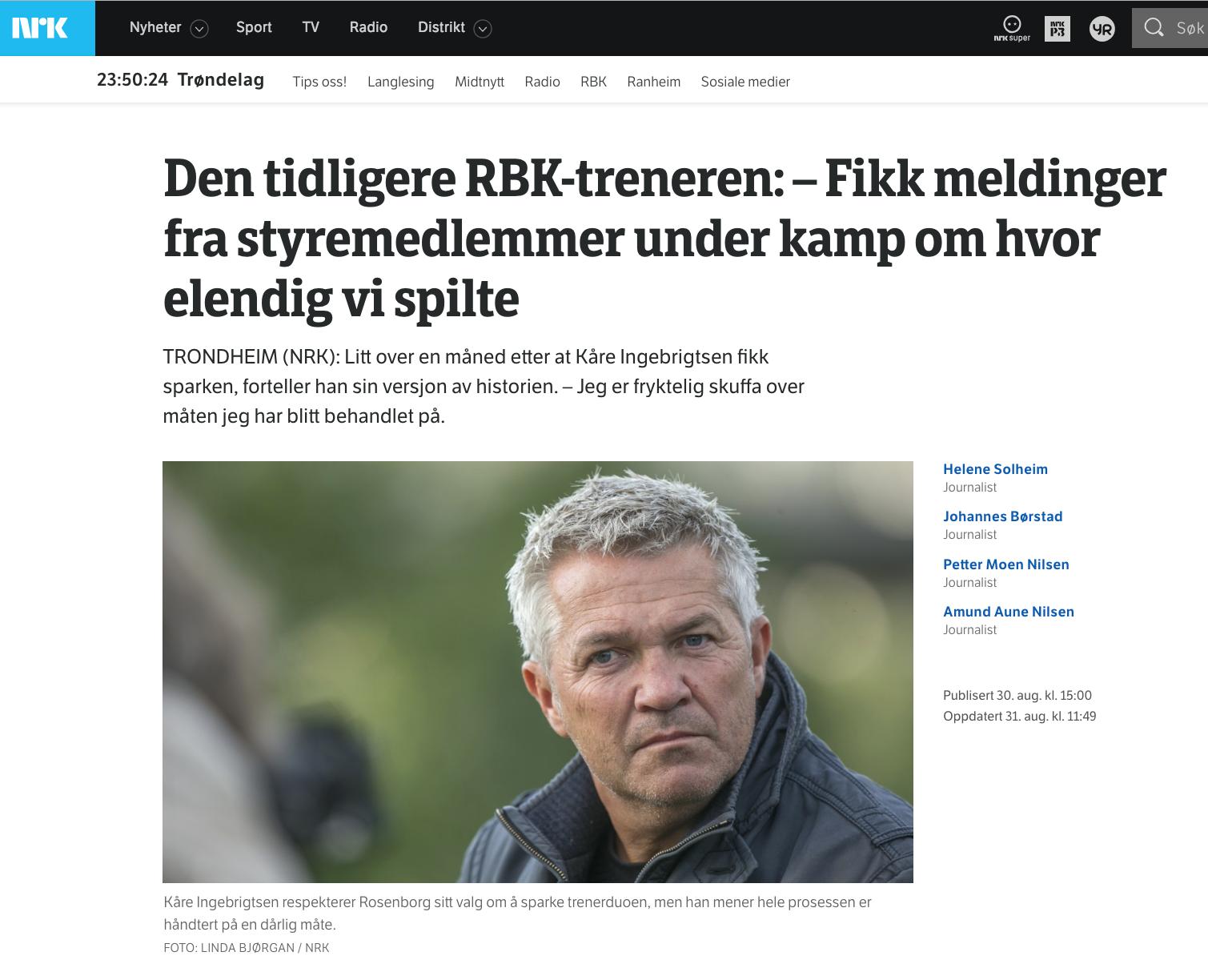 Trønderne bør ikke akseptere det som skjer i Rosenborg